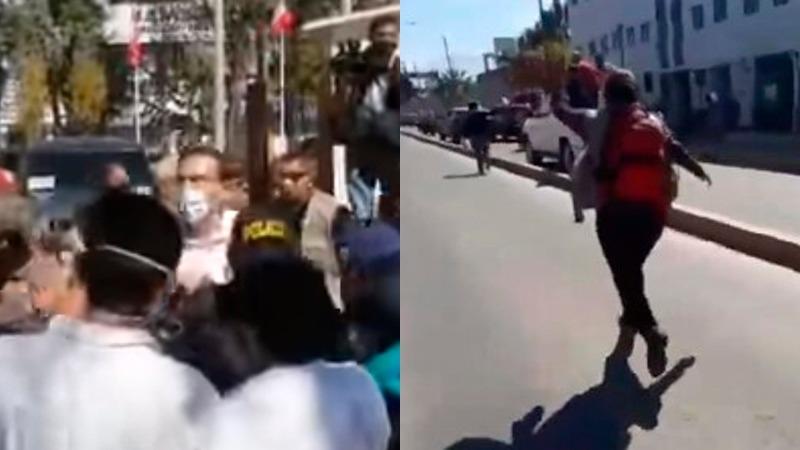 Arequipa: Mujer persigue llorando el vehículo de Martín Vizcarra para que visite carpas de hospital