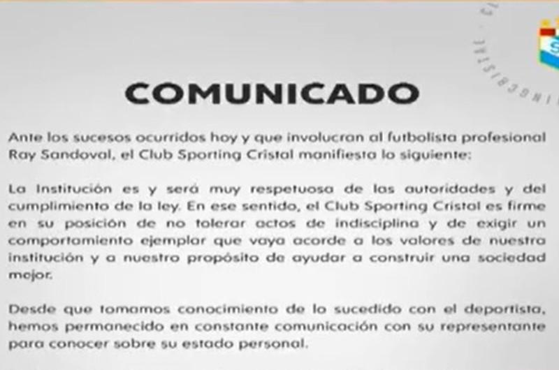 Ray Sandoval: Sporting Cristal se pronuncia por el caso del futbolista