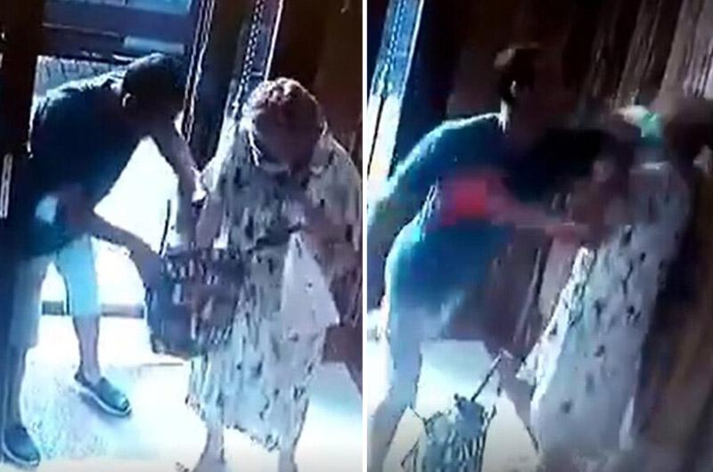 Delincuente le rompe la cabeza a abuelita y le roba todas sus pertenencias en la puerta de su casa