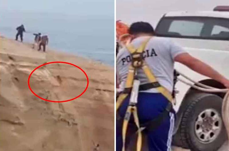 ¡Emotivo! Policía arriesga su vida para rescatar a perrito que cayó a un abismo de 300 metros