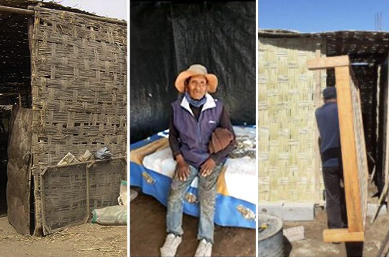 Arequipa: policías le construyen un cuarto de esteras a abuelito que no tenía donde dormir