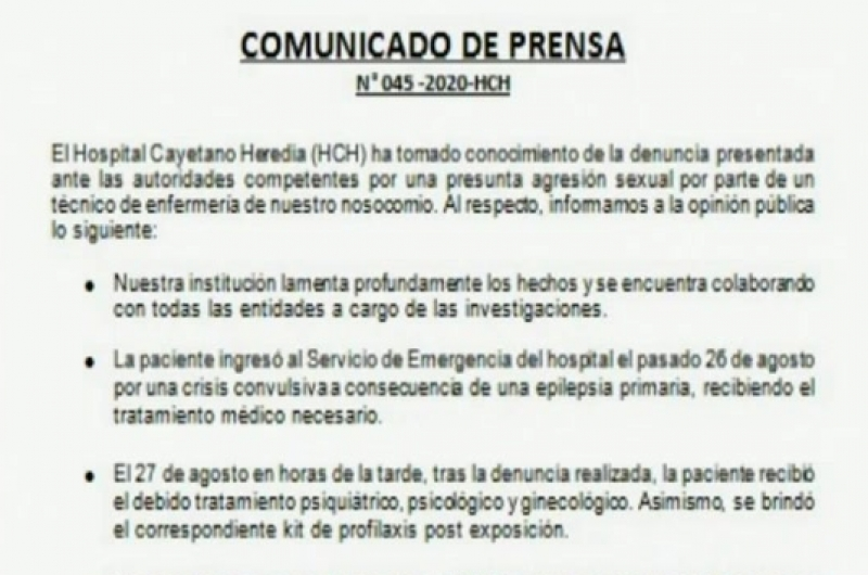 Hospital Cayetano Heredia se pronuncia ante denuncia de violación en sus instalaciones