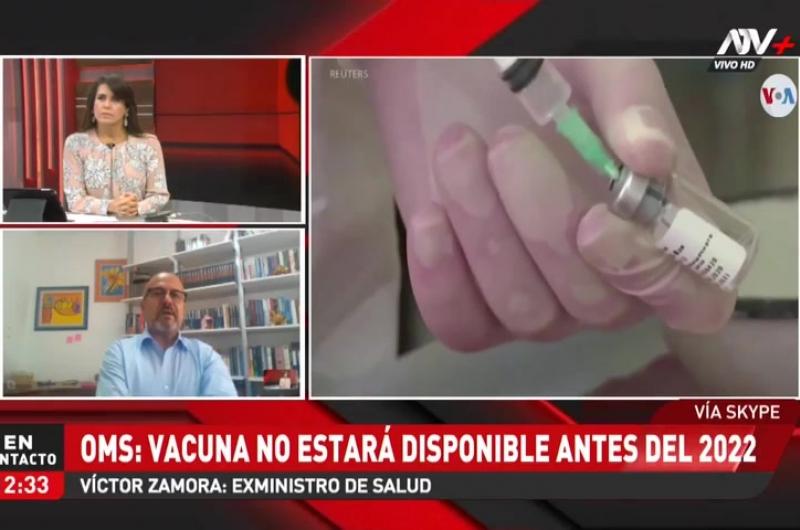 OMS: Vacuna no estará disponible antes del 2022