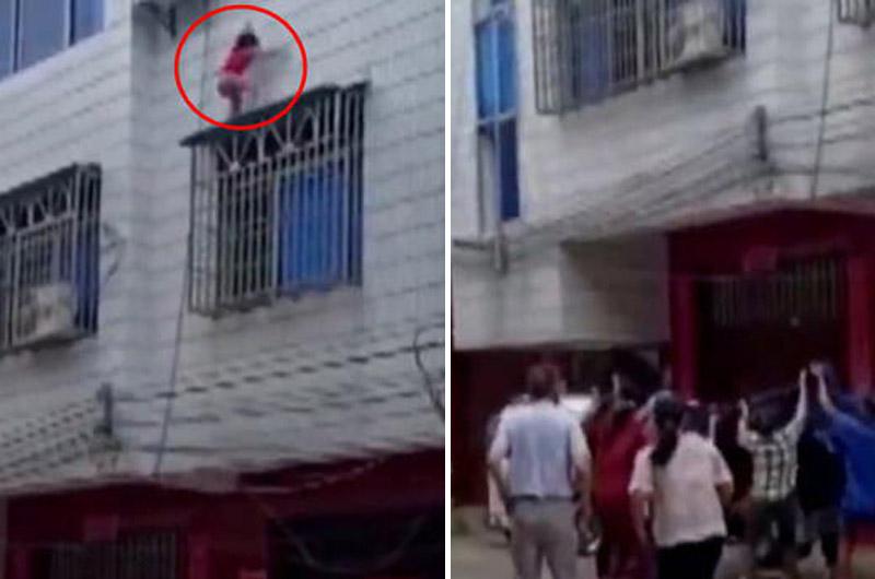 El momento preciso en que niña cae por la ventana de un edificio y es atrapada en el aire por un grupo de vecinos